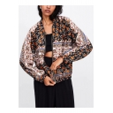 Women's Retro Floral Geometric Print Zip Up Bomber Jacket
