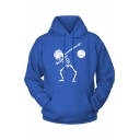 Cool Blue Skull Print Long Sleeve Pocket Regular Pullover Hoodie
