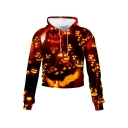 3D Fashion Halloween Pumpkin Pattern Long Sleeve Casual Leisure Crop Hoodie