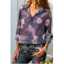 Hot Fashion Long Sleeve Lapel Collar Floral Print Button Down Chiffon Purple Shirt