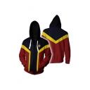 Trendy 3D Printed Colorblock Long Sleeve Cosplay Zip Up Red Hoodie