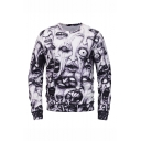 Popular Halloween Ghost 3D Printed Black and White Long Sleeve Round Neck Pullover Sweatshirts