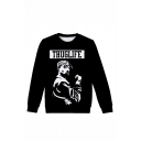 Popular American Famous Rapper 3D Printed Black Long Sleeve Round Neck Pullover Sweatshirts