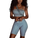 Womens Grey Logo Printed Crop Slim Bandeau Top with Fitted Bermuda Shorts Two-Piece Set