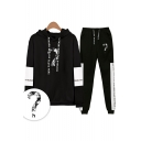 Popular Question Mark Letters Print Patterns Loose Long Sleeve Hoodie with Drawstring Sweatpants Co-ords