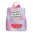 New Stylish Gradient Color Students Pink School Bag Backpack 32*35*12cm