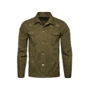 Mens New Trendy Simple Plain Lapel Collar Long Sleeve Pocket Button Front Ripped Jacket