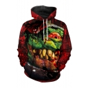Halloween New Fashion Horror Variation Zombie 3D Printed Long Sleeve Red Drawstring Hoodie