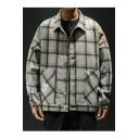 Mens New Stylish Plaid Printed Long Sleeve Single Breasted Loose Casual Jacket