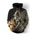 V for Vendetta Character 3D Printed Long Sleeve Loose Fit Khaki Pullover Hoodie