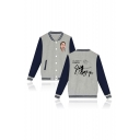 Popular Figure Letter REMIX Printed Long Sleeve Stand Collar Button Down Baseball Jacket
