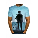 Mens Short Sleeve Round Neck Comic Figure Printed Fitted Blue Tee