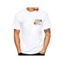 Hot Popular Letter ASTROWORLD Print Short Sleeve Round Neck White T-Shirt for Guys