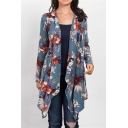 Womens Casual Floral Print Long Sleeve Open Front Asymmetrical Waterfall Cardigan