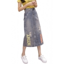 Simple Letter Printed Split Side Mid-Length A-line Denim Skirt with Pocket