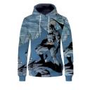 Popular Fashion Comic 3D Printed Long Sleeve Blue Drawstring Pullover Hoodie