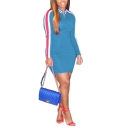 Women's Fashion Round Neck Long Sleeve Zip 3-stripe Mini Bodycon Dress