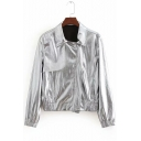 Cool Silver Metallic Lapel Collar Long Sleeve Zip Up Cropped Racer Jacket Coat