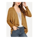 Casual Women's Solid Color Cascade-Collar Long Sleeve Loose Buckskin Short Coat