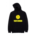 Unisex Popular Fashion Letter WATCHMAN Emoji Printed Long Sleeve Casual Sports Pullover Hoodie