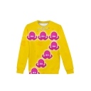 Funny Octopus Printed Yellow Long Sleeve Round Neck Casual Sports Pullover Sweatshirts