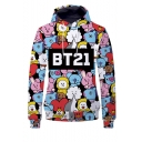 BT21 Letter Cartoon All-Over Printed Long Sleeve Drawstring Pullover Hoodie