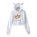 Hot Popular Long Sleeve Letter Cartoon Angel Baby Printed Cat Ear Pullover Cropped Hoodie