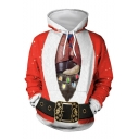 New Fashion Christmas Printed Red Long Sleeve Loose Pullover Hoodie