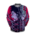 Stylish Comic Character 3D Print Long Sleeve Stand Neck Baseball Jacket