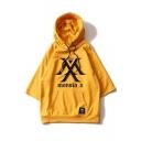 Hot Popular Kpop Boy Group Simple Letter Logo Printed Short Sleeve Hooded T-Shirt