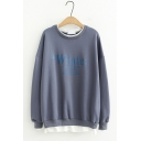 Simple Letter WINTE Pattern Preppy Style Round Neck Long Sleeve Pullover Sweatshirt