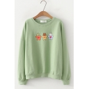 Cute Cartoon Animal Printed Round Neck Long Sleeve Loose Pullover Sweatshirt