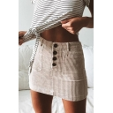Women New Trendy High Waist Front Button Corduroy Solid Color Sexy Bodycon Miniskirt