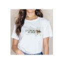 Stylish Simple Floral Letter Printed Round Neck Short Sleeve White Tee