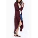 Women Leisure Asymmetric Hem Open Front Solid Color Longline Trench Coat