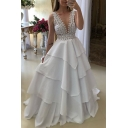 Womens New Trend V-Neck Sleeveless Panelled Tiered Backless White Eneving Maxi Flare Floor Length Dress
