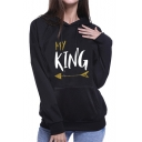 Couple My KING/ My QUEEN Letter Printed Long Sleeve Black Pullover Hoodie With Pocket
