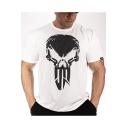 Mens Hot Trendy Short Sleeve Round Neck IN TEN SI TY Letter Skull Printed Cotton Sport T-Shirt