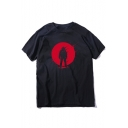 Hot Cool Street Style Young Mens Short Sleeve Round Neck Human Shadow Printed Basic T-Shirt