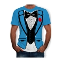 Blue Round Neck Short Sleeve 3D Bow-Tie Blazer Printed Fake Two Piece T Shirt