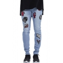 Men's New Fashion Letter Badge Embroidery Patch Light Blue Slim Fit Stylish Jeans
