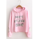 Womens DON'T STRESS MEOW Letter Animal Printed Long Sleeve Casual Loose Sweet Cute Hoodie for Women