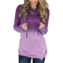 Hot Popular Womens Long Sleeve Button Embellished Straight Gradient Hoodie with Pocket