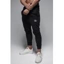 Men's New Stylish Star Letter R Pattern Drawstring Waist Trendy Slim Cotton Sports Pencil Pants