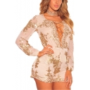 Trendy Plunge V Neck Sheer Long Sleeve Lace Up Front Cutout Sequin Embellished Rompers