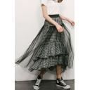 Trendy High Waist Check Printed Ruffle Hem Patch Maxi Mesh Skirt