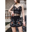 Straps Fringe Hem Sleeveless Tee with High Waist Shorts Black Floral Embroidered Co-ords