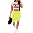 White Short Sleeve Letter Printed Cropped Tee with Green Elastic Waist Shorts Fashion Two Piece Set