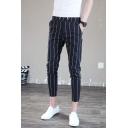 Men's Popular Fashion Stripe Pattern Trendy Casual Slim Pencil Pants