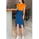 Summer Blue High Waist Asymmetric Hem Holiday Midi Straight Skirt